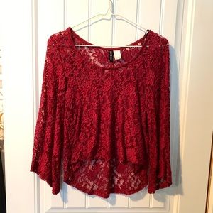 Tops - H&M red lace high-low shirt